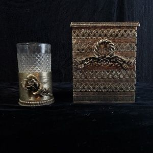 1940s bathroom tissue cover and glass cup!